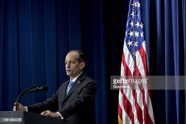 Alexander Acosta US labor secretary speaks during an event supporting veterans and military families in the Eisenhower Executive Office Building in...