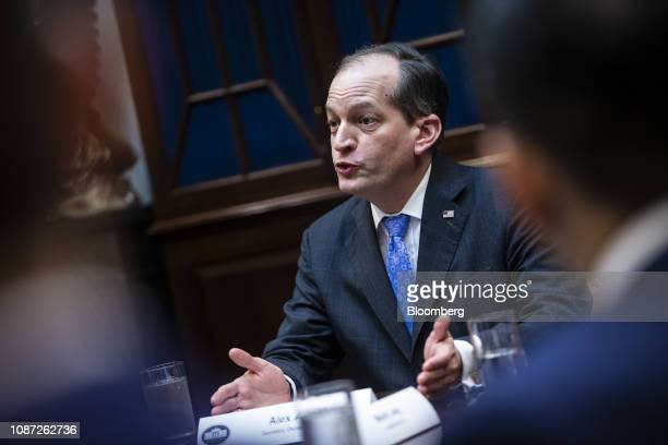 Alexander Acosta US labor secretary speaks during healthcare pricing roundtable with US President Donald Trump not pictured in the Roosevelt Room of...