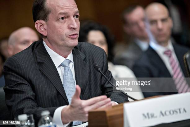 R Alexander Acosta US secretary of labor nominee for US President Donald Trump speaks during a Senate Health Education Labor and Pensions...