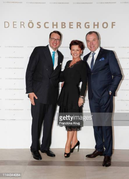 Alexander Aisenbrey, Margit Toennies and Clemens Toennies during the hotel inauguration of Der Oeschberghof on May 17, 2019 in Donaueschingen,...