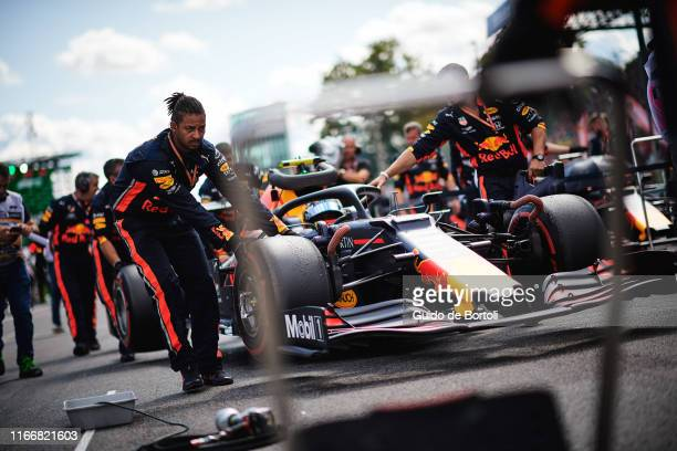 Alexander Albon of Thailand and Aston Martin Red Bull Racing on the grid of the F1 Grand Prix of Italy at Autodromo di Monza on September 8 2019 in...
