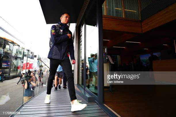 Alexander Albon of Thailand and Red Bull Racing arrives at the circuit during previews ahead of the F1 Grand Prix of Belgium at Circuit de...