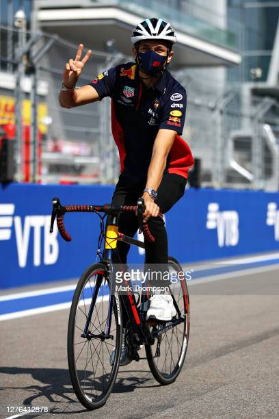 Alexander Albon of Thailand and Red Bull Racing cycles the track during previews ahead of the F1 Grand Prix of Russia at Sochi Autodrom on September...