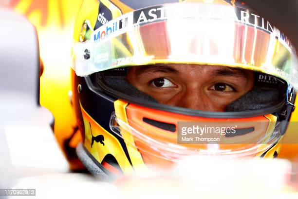 Alexander Albon of Thailand and Red Bull Racing has a seat fitting in the Red Bull Racing garage during previews ahead of the F1 Grand Prix of...