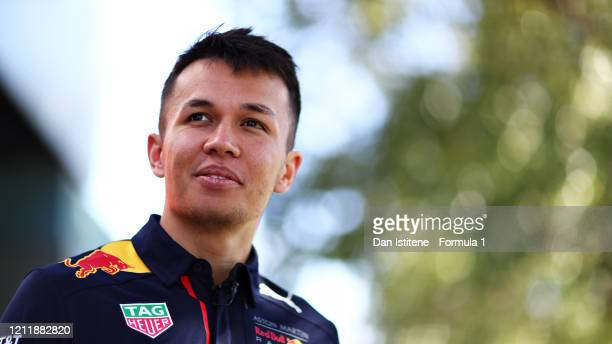 Alexander Albon of Thailand and Red Bull Racing looks on in the Paddock during previews ahead of the F1 Grand Prix of Australia at Melbourne Grand...
