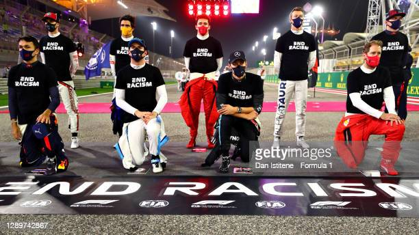 Alexander Albon of Thailand and Red Bull Racing, Nicholas Latifi of Canada and Williams, George Russell of Great Britain and Mercedes GP and...