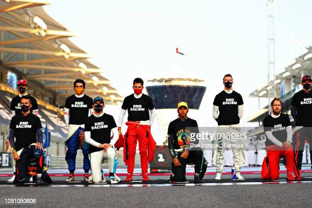 Alexander Albon of Thailand and Red Bull Racing, Nicholas Latifi of Canada and Williams, Lewis Hamilton of Great Britain and Mercedes GP and...