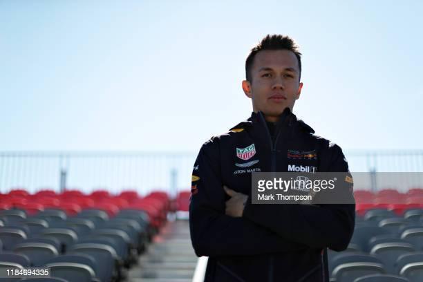 Alexander Albon of Thailand and Red Bull Racing poses for a photo in a grandstand during previews ahead of the F1 Grand Prix of USA at Circuit of The...