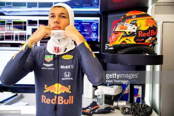 Alexander Albon of Thailand and Red Bull Racing prepares to drive in the garage during practice for the F1 Grand Prix of Belgium at Circuit de...