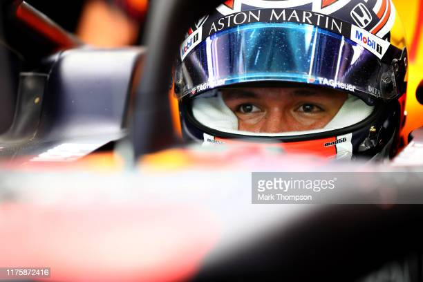 Alexander Albon of Thailand and Red Bull Racing prepares to drive in the garage during practice for the F1 Grand Prix of Singapore at Marina Bay...