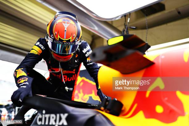 Alexander Albon of Thailand and Red Bull Racing prepares to drive in the garage during practice for the F1 Grand Prix of Mexico at Autodromo Hermanos...
