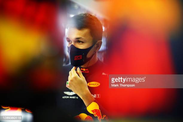 Alexander Albon of Thailand and Red Bull Racing prepares to drive in the garage during practice ahead of the F1 Grand Prix of Sakhir at Bahrain...