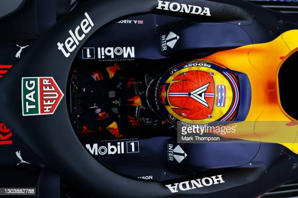Alexander Albon of Thailand and Red Bull Racing prepares to drive in the garage during the Red Bull Racing Filming Day at Silverstone on February 24,...