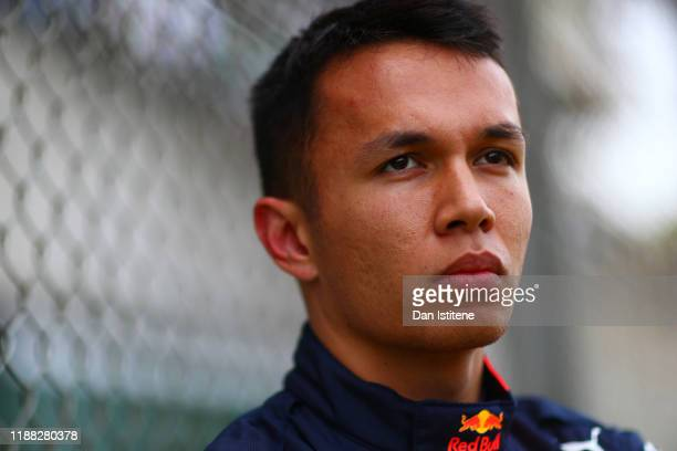 Alexander Albon of Thailand and Red Bull Racing prepares to drive on the grid before the F1 Grand Prix of Brazil at Autodromo Jose Carlos Pace on...