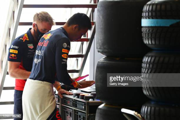 Alexander Albon of Thailand and Red Bull Racing prepares to drive before the Formula One Grand Prix of Styria at Red Bull Ring on July 12 2020 in...