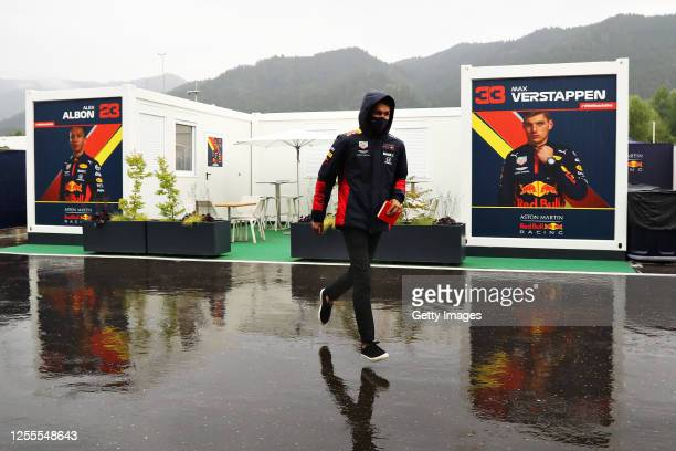 Alexander Albon of Thailand and Red Bull Racing runs in the Paddock before final practice for the Formula One Grand Prix of Styria at Red Bull Ring...
