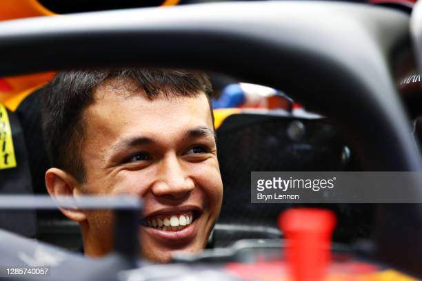 Alexander Albon of Thailand and Red Bull Racing sits in his car in the garage before the F1 Grand Prix of Turkey at Intercity Istanbul Park on...