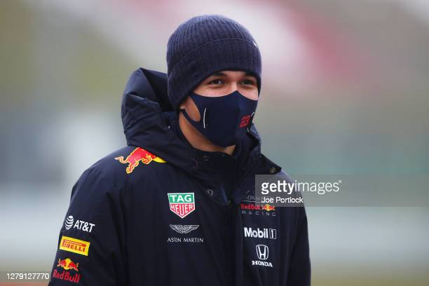 Alexander Albon of Thailand and Red Bull Racing walks the track during previews ahead of the F1 Eifel Grand Prix at Nuerburgring on October 08, 2020...