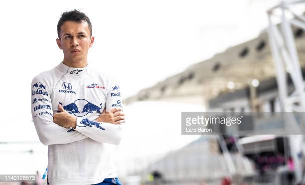 Alexander Albon of Thailand and Scuderia Toro Rosso is seen during F1 testing in Bahrain at Bahrain International Circuit on April 03, 2019 in...