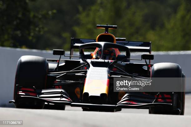 Alexander Albon of Thailand driving the Aston Martin Red Bull Racing RB15 on track during practice for the F1 Grand Prix of Belgium at Circuit de...