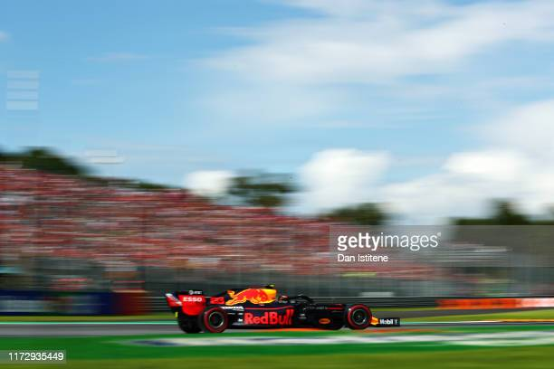 Alexander Albon of Thailand driving the Aston Martin Red Bull Racing RB15 on track during qualifying for the F1 Grand Prix of Italy at Autodromo di...