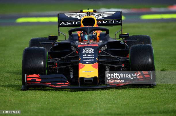 Alexander Albon of Thailand driving the Aston Martin Red Bull Racing RB15 runs wide during final practice for the F1 Grand Prix of Mexico at...