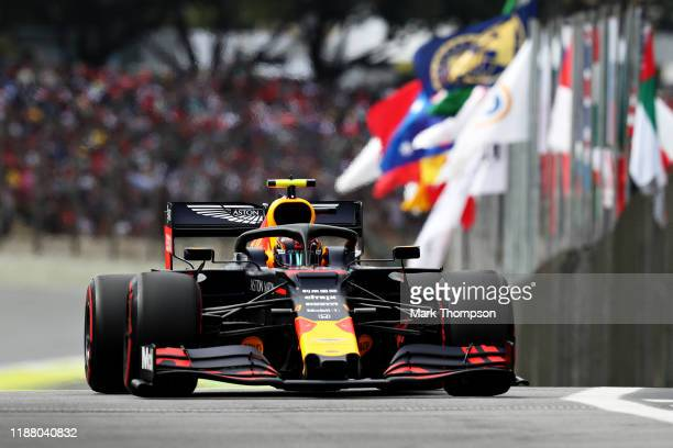 Alexander Albon of Thailand driving the Aston Martin Red Bull Racing RB15 on track during qualifying for the F1 Grand Prix of Brazil at Autodromo...