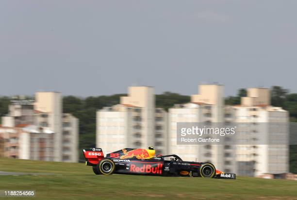 Alexander Albon of Thailand driving the Aston Martin Red Bull Racing RB15 on track during the F1 Grand Prix of Brazil at Autodromo Jose Carlos Pace...