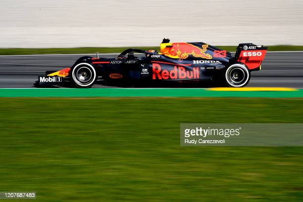 Alexander Albon of Thailand driving the Aston Martin Red Bull Racing RB16 on track during day two of F1 Winter Testing at Circuit de...