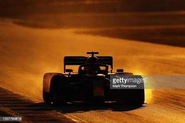 Alexander Albon of Thailand driving the Aston Martin Red Bull Racing RB16 locks up under braking during day three of F1 Winter Testing at Circuit de...