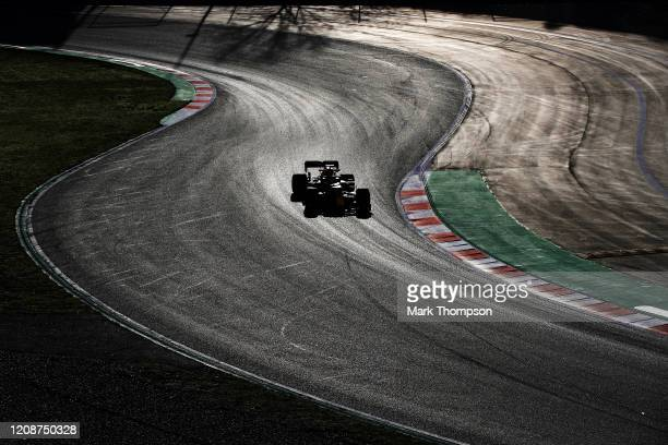 Alexander Albon of Thailand driving the Aston Martin Red Bull Racing RB16 on track during Day One of F1 Winter Testing at Circuit de...