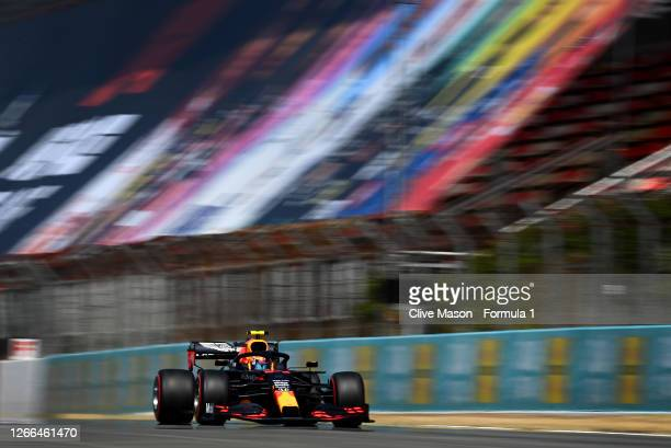 Alexander Albon of Thailand driving the Aston Martin Red Bull Racing RB16 on track during qualifying for the F1 Grand Prix of Spain at Circuit de...