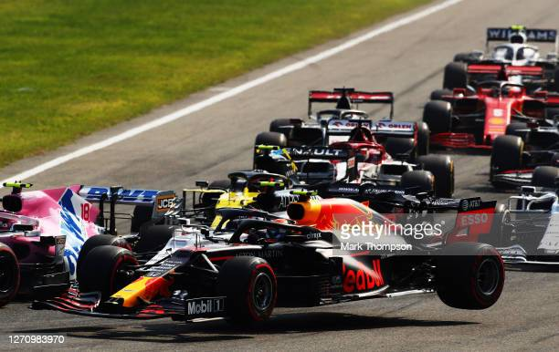 Alexander Albon of Thailand driving the Aston Martin Red Bull Racing RB16 spins during the F1 Grand Prix of Italy at Autodromo di Monza on September...