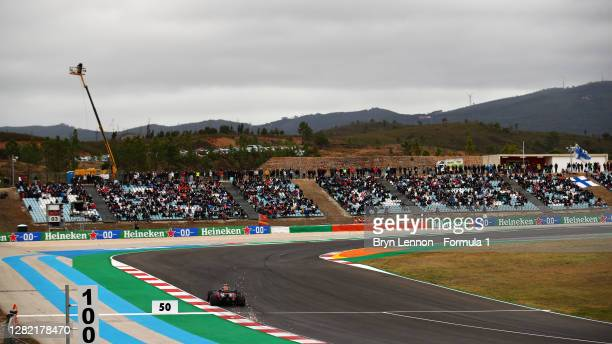 Alexander Albon of Thailand driving the Aston Martin Red Bull Racing RB16 on track during the F1 Grand Prix of Portugal at Autodromo Internacional do...