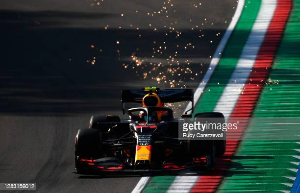 Alexander Albon of Thailand driving the Aston Martin Red Bull Racing RB16 on track during practice ahead of the F1 Grand Prix of Emilia Romagna at...