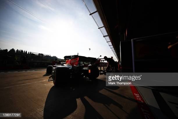 Alexander Albon of Thailand driving the Aston Martin Red Bull Racing RB16 leaves the garage during qualifying ahead of the F1 Grand Prix of Emilia...