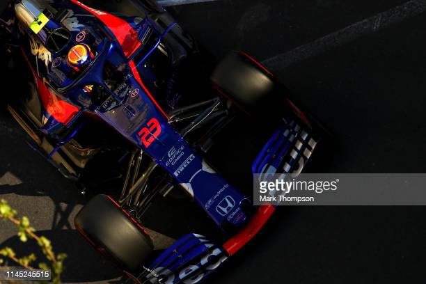 Alexander Albon of Thailand driving the Scuderia Toro Rosso STR14 Honda on track during practice for the F1 Grand Prix of Azerbaijan at Baku City...