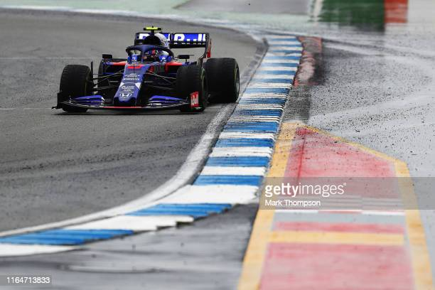 Alexander Albon of Thailand driving the Scuderia Toro Rosso STR14 Honda on track during the F1 Grand Prix of Germany at Hockenheimring on July 28,...