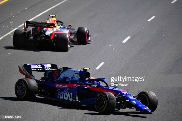 Alexander Albon of Thailand driving the Scuderia Toro Rosso STR14 Honda spins with a broken front wing during practice for the F1 Grand Prix of...