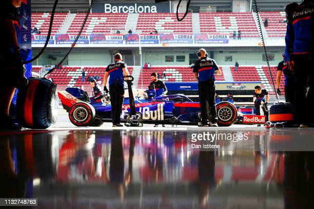 Alexander Albon of Thailand driving the Scuderia Toro Rosso STR14 Honda returns to the garage during day three of F1 Winter Testing at Circuit de...