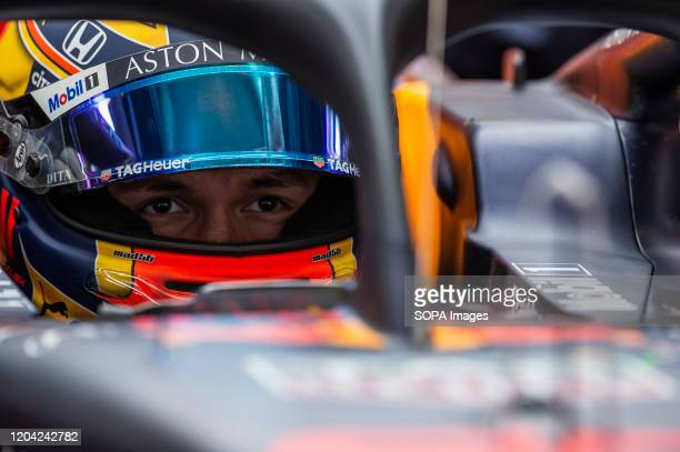 Alexander Albon participates in the tests for the new season of the Formula One Grand Prix at the Circuit de Catalunya in Montmelo