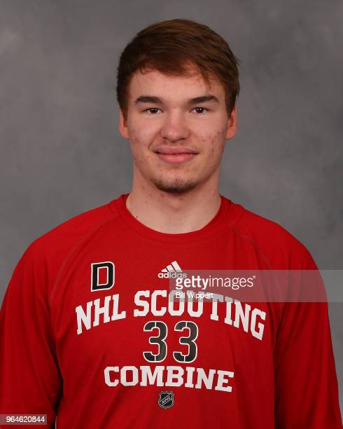 Alexander Alexeyev poses for a headshot at the NHL Scouting Combine on May 31 2018 at HarborCenter in Buffalo New York