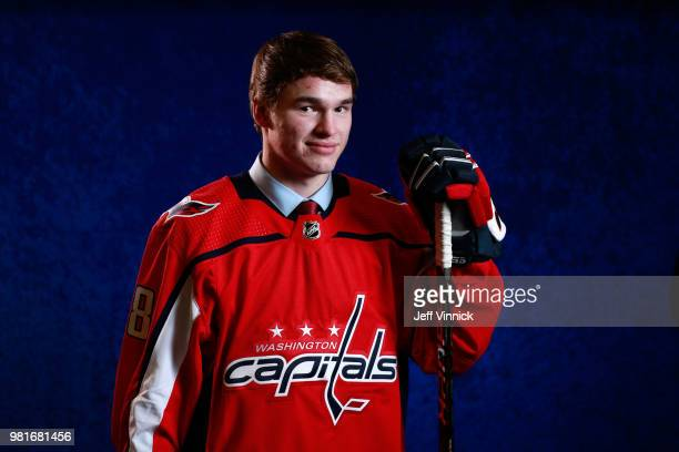 Alexander Alexeyev poses for a portrait after being selected thirtyfirst overall by the Washington Capitals during the first round of the 2018 NHL...