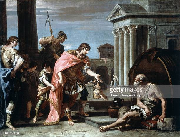 Alexander and Diogenes Alexander The Great visiting Diogenes of Sinope Greek Cynic philosopher living in his tub in Athens Sebastiano Ricci Italian...