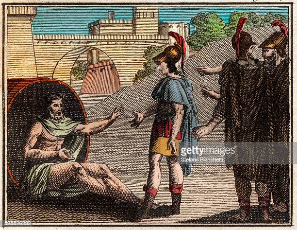 Alexander and Diogenes' late 17thearly 18th century Alexander the Great Alexander III of Macedon visiting Diogenes of Sinope Greek Cynic philosopher...