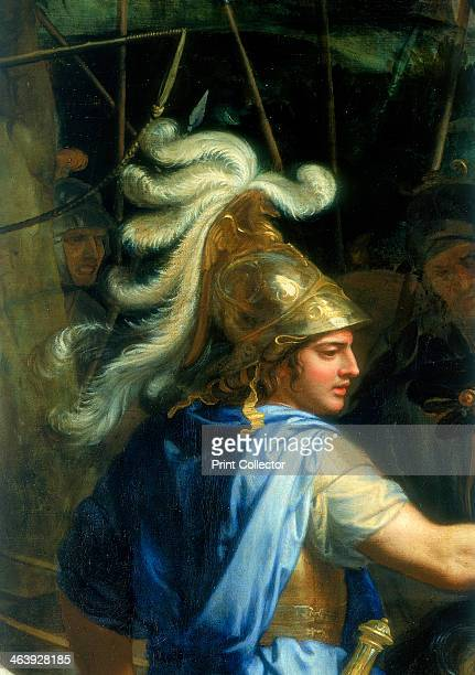 'Alexander and Porus' c1673 Detail showing Alexander the Great in a blue robe and with a plumed helmet
