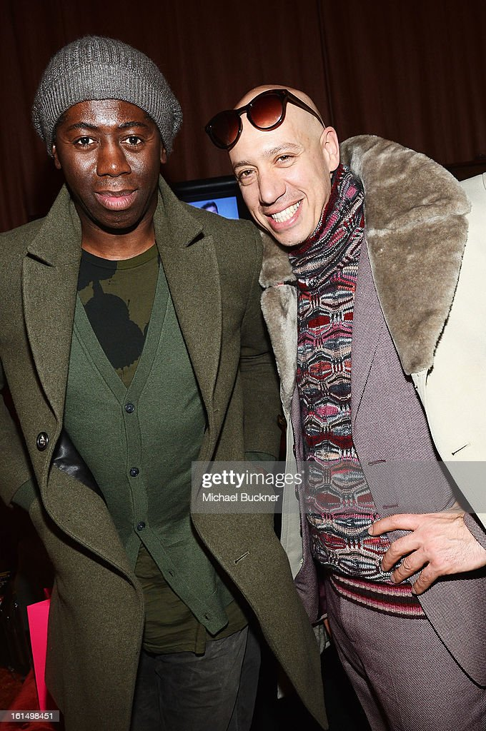 J. Alexander (L) and Robert Verdi attend the Mercedes-Benz Star Lounge during Mercedes-Benz Fashion Week Fall 2013 at Lincoln Center on February 11, 2013 in New York City.