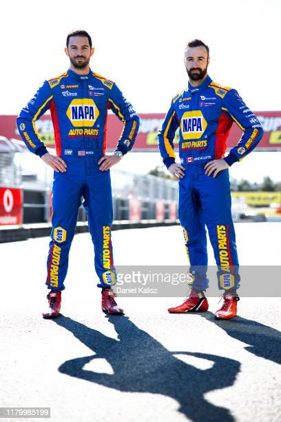 Alexander and Rossi James Hinchliffe driver of the NAPA Auto Parts Walkinshaw Andretti United Holden Commodore ZB pose during previews ahead of the...