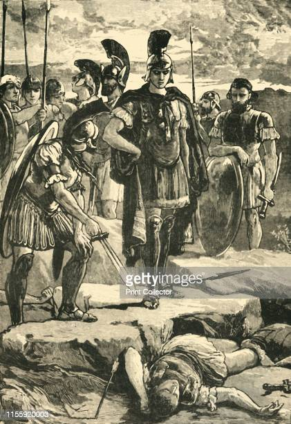 Alexander and the Body of Darius', 1890. Alexander the Great stands over Darius III betrayed and wounded by the javelins of Bessus and Nabarzanes in...