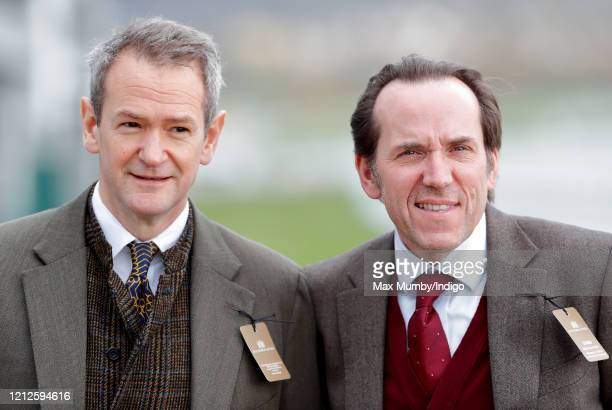 Alexander Armstrong and Ben Miller attend day 4 'Gold Cup Day' of the Cheltenham Festival 2020 at Cheltenham Racecourse on March 13 2020 in...